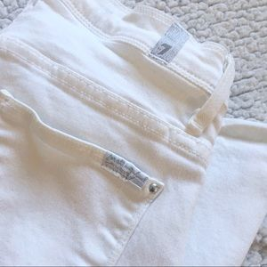 """7FAM White High Waisted """"Bellbottom"""" Frayed Jeans"""